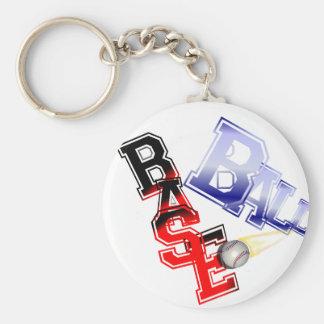 Base Ball Basic Round Button Key Ring