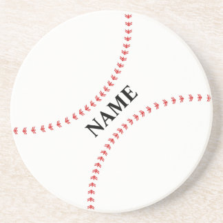 Base Ball Coaster, Red Stitching Custom For Him Sandstone Coaster