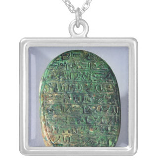 Base of a marriage scarab of Amenhotep III Silver Plated Necklace