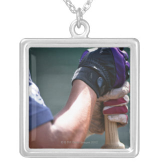 Baseball 4 silver plated necklace