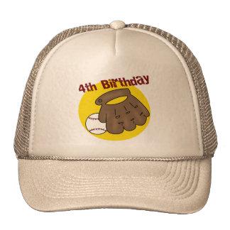 Baseball 4th Birthday Gifts Trucker Hats