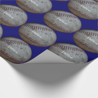 Baseball Add A Name Birthday Wrapping Paper