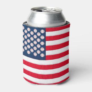 Baseball & American flag can cooler