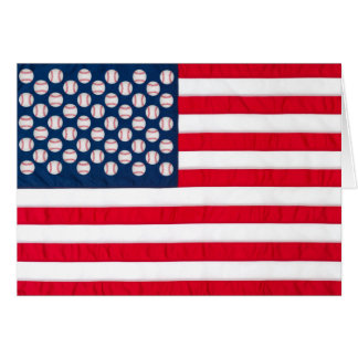 Baseball & American flag greeting card