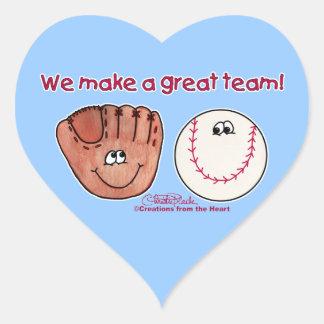 Baseball and Baseball Glove Team Heart Sticker