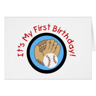 Baseball and Glove 1st Birthday Tshirts and Gifts Greeting Card