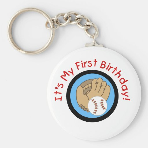 Baseball and Glove 1st Birthday Tshirts and Gifts Keychains