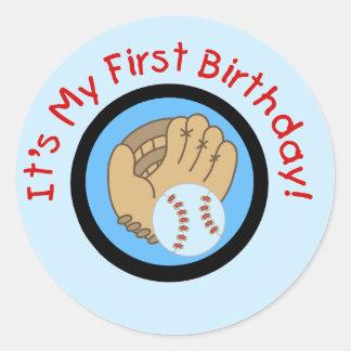 Baseball and Glove 1st Birthday Tshirts and Gifts Round Sticker