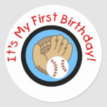Baseball and Glove 1st Birthday Tshirts and Gifts Round Sticker