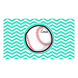 Baseball; Aqua Green Chevron Double-Sided Standard Business Cards (Pack Of 100)