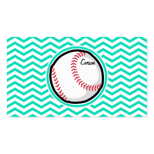 Baseball; Aqua Green Chevron Business Card Template