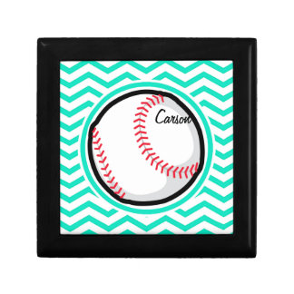 Baseball Aqua Green Chevron Gift Box