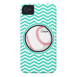 Baseball Aqua Green Chevron iPhone 4 Cover