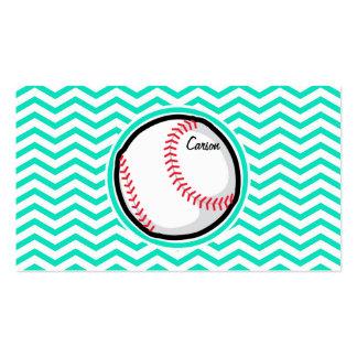 Baseball; Aqua Green Chevron Pack Of Standard Business Cards