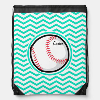 Baseball Aqua Green Chevron Cinch Bags