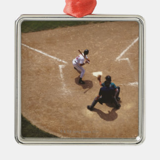 Baseball at Home Plate Silver-Colored Square Decoration