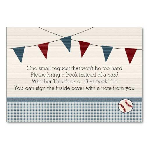 BASEBALL BABY SHOWER BOOK REQEUST CARD TABLE CARDS