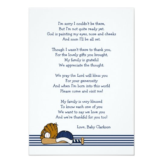 Baseball Baby Shower Thank you note with poem