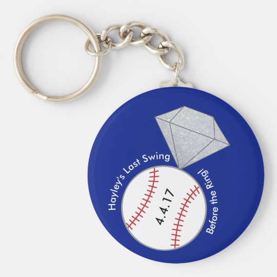 Baseball Bachelorette Party Favour Key Ring Basic Round Button Key Ring