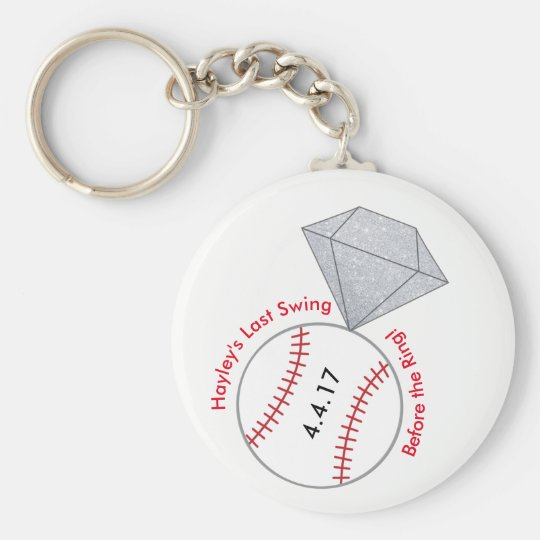 Baseball Bachelorette Party Favour Key Ring Basic Round Button Key Ring