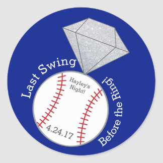 Baseball Bachelorette Sticker- Last Swing Classic Round Sticker