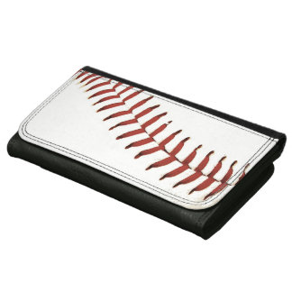 baseball ball red stitch leather wallet for women