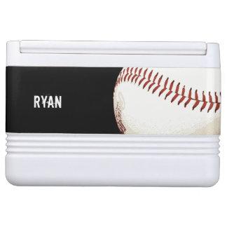 Baseball ball with red stitching igloo cool box