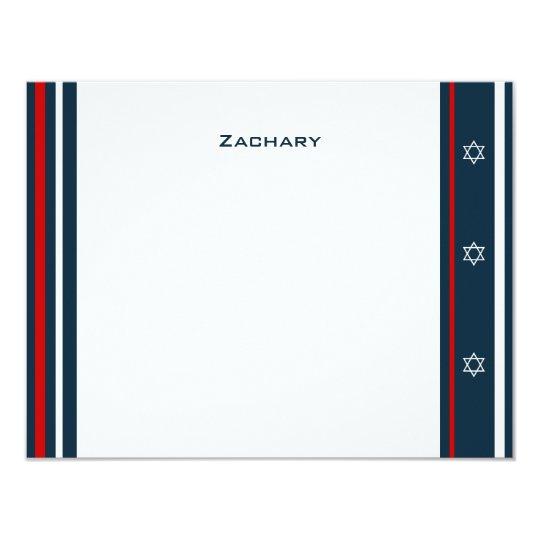Baseball Bar Mitzvah Thank You Card