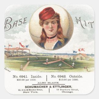 Baseball bases Hit song Vintage From Havana Square Sticker
