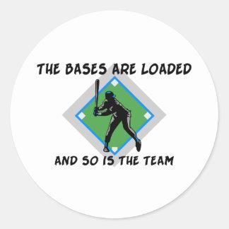 Baseball Bases Loaded Round Sticker