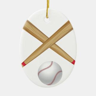 Baseball Bat and Ball Ceramic Oval Decoration