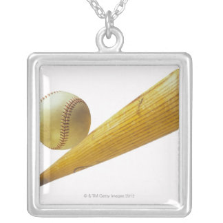 Baseball bat and ball silver plated necklace