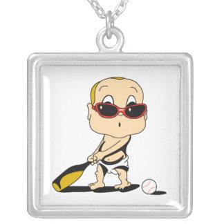 baseball bat baby square pendant necklace