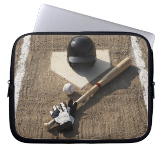 Baseball, bat, batting gloves and baseball laptop sleeve