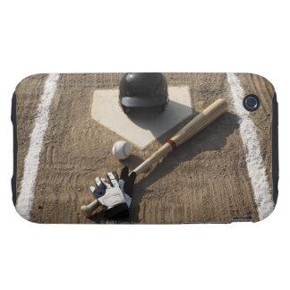 Baseball, bat, batting gloves and baseball tough iPhone 3 cases