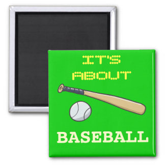 Baseball Bat n Ball Square Magnet