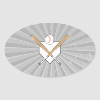 baseball bats and home plate graphic oval sticker
