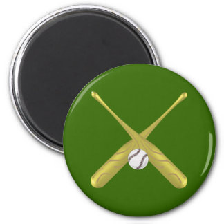 Baseball bats crossed with ball ~edit background 6 cm round magnet