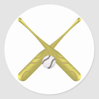 Baseball bats crossed with ball ~edit background round sticker