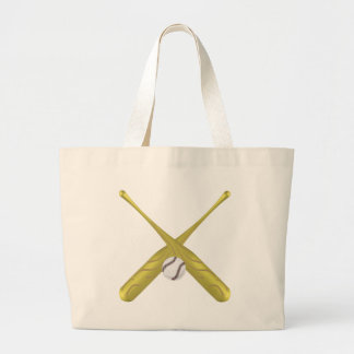Baseball bats crossed with ball ~edit background jumbo tote bag