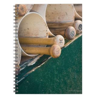 Baseball bats in the dugout notebook