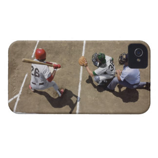 Baseball batter awaiting pitch with catcher and iPhone 4 case