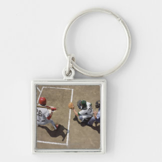 Baseball batter awaiting pitch with catcher and key ring