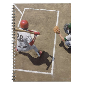 Baseball batter awaiting pitch with catcher and notebook