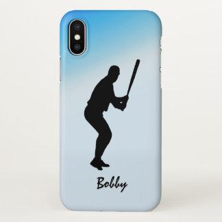 Baseball Batter Blue Sports iPhone X Case