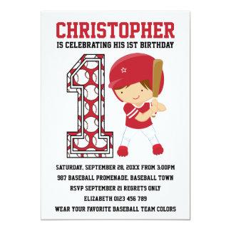 Baseball Batter Red White 1st Birthday Party 13 Cm X 18 Cm Invitation Card