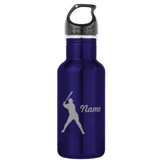 Baseball Batter Silhouette, Personalized Name 532 Ml Water Bottle