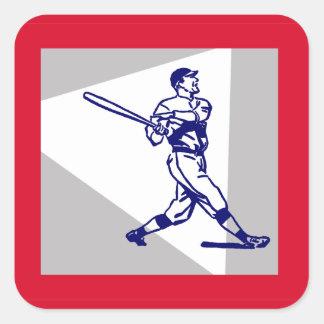 Baseball Batter Swings Square Sticker