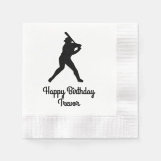 Baseball Batter Up Personalized Birthday Disposable Napkin
