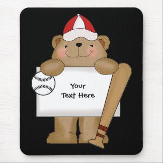 Baseball Bear Bulletin (customizable) Mouse Pads